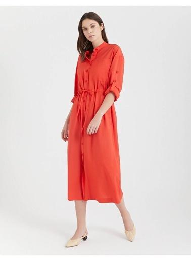 BGN Bgn M Yaka  Uzun Kadın Gömlek Elbise Kırmızı